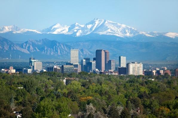 Denver Colorado skyscrapers snowy Longs Peak Rocky Mountains summer